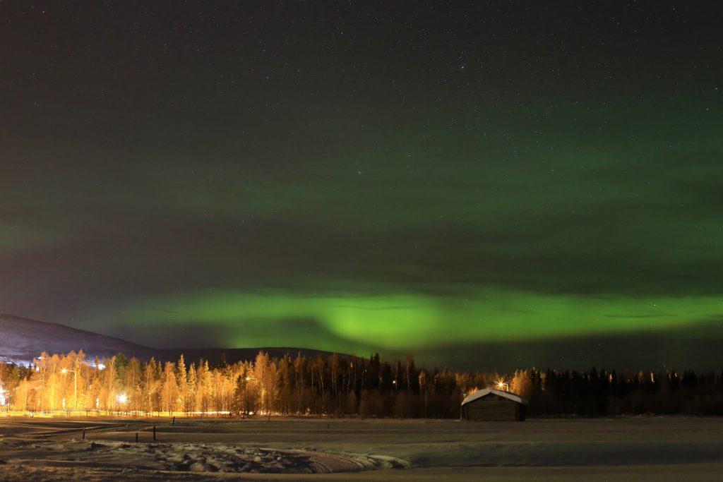 Finnland-Foto-Nordlichter über dem Ylläsfjell